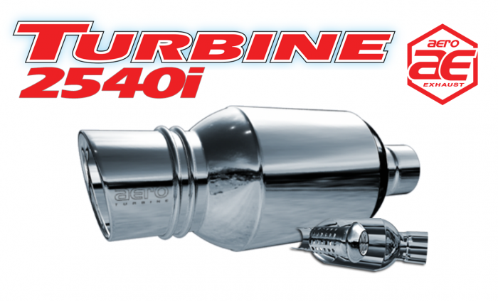 "Aero Exhaust - Turbine AT2540i Performance Muffler 2.5"" Inlet Neck with 4"" Rolled Tip Outlet (Aggressive Sound)"