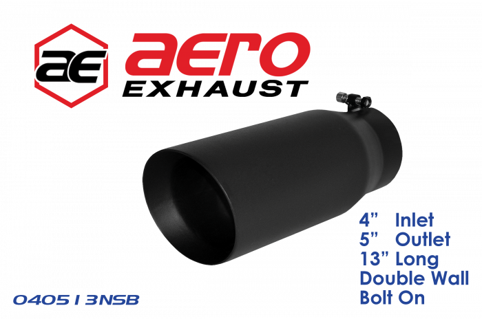 "Aero Exhaust - Exhaust Tip 4"" Inlet 5"" Outlet 13"" Overall Length Double Wall Slant Cut Outlet Black"