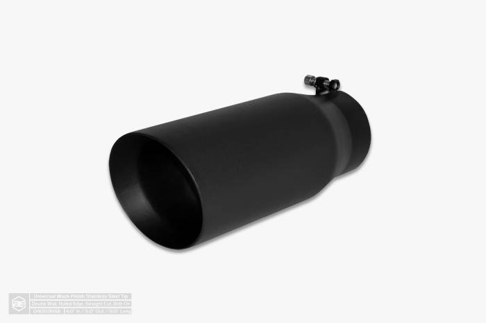 """Aero Exhaust - Exhaust Tip 4"""" Inlet 5"""" Outlet 13"""" Overall Length Double Wall Slant Cut Outlet Black - Image 1"""