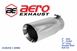 """Exhaust Tips - Aero Exhaust - Exhaust Tip 4"""" Inlet 5"""" Outlet 13"""" Overall Length Double Wall Slant Cut Outlet"""