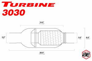 "Aero Exhaust - Aero Exhaust - Turbine AT3030 Performance Muffler 3"" Inside Diameter Necks (Aggressive Sound) - Image 3"
