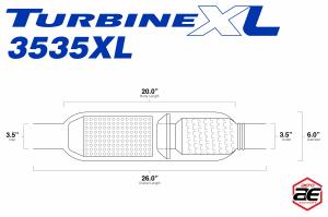 "Aero Exhaust - Aero Exhaust - TurbineXL AT3535XL Performance Muffler 3.5"" Inside Diameter Necks (Medium Sound) - Image 3"