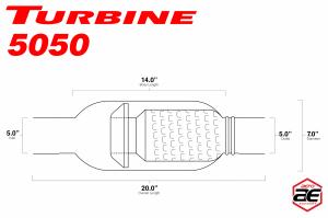 "Aero Exhaust - Aero Exhaust - Turbine AT5050 Performance Muffler 5"" Inside Diameter Necks (Aggressive Sound) - Image 3"